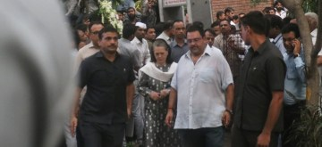 New Delhi: Congress President Sonia Gandhi arrives to pay tribute to Former Chief Minister Sheila Dikshit who passed away at a private hospital in New Delhi on July 20, 2019. (Photo: IANS)
