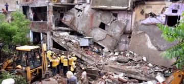 Jaipur: Rescue operations underway after a two-storey building collapsed at Ramganj area in Jaipur on Aug 14, 2019. The incident left one dead and two injured. (Photo: Ravi Shankar Vyas/IANS)