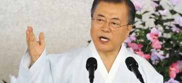 Seoul: President Moon Jae-in delivers a speech to mark the 74th anniversary of Korea's liberation from Japan's colonial rule during a ceremony at the Independence Hall of Korea in Cheonan, 90 kilometers south of Seoul, on Aug. 15, 2019. .(Yonhap/IANS)