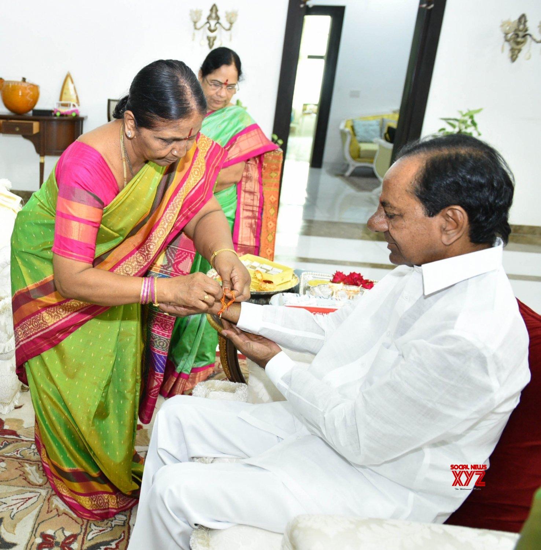 Hyderabad: K. Chandrashekar Rao during Raksha Bandhan celebrations #Gallery