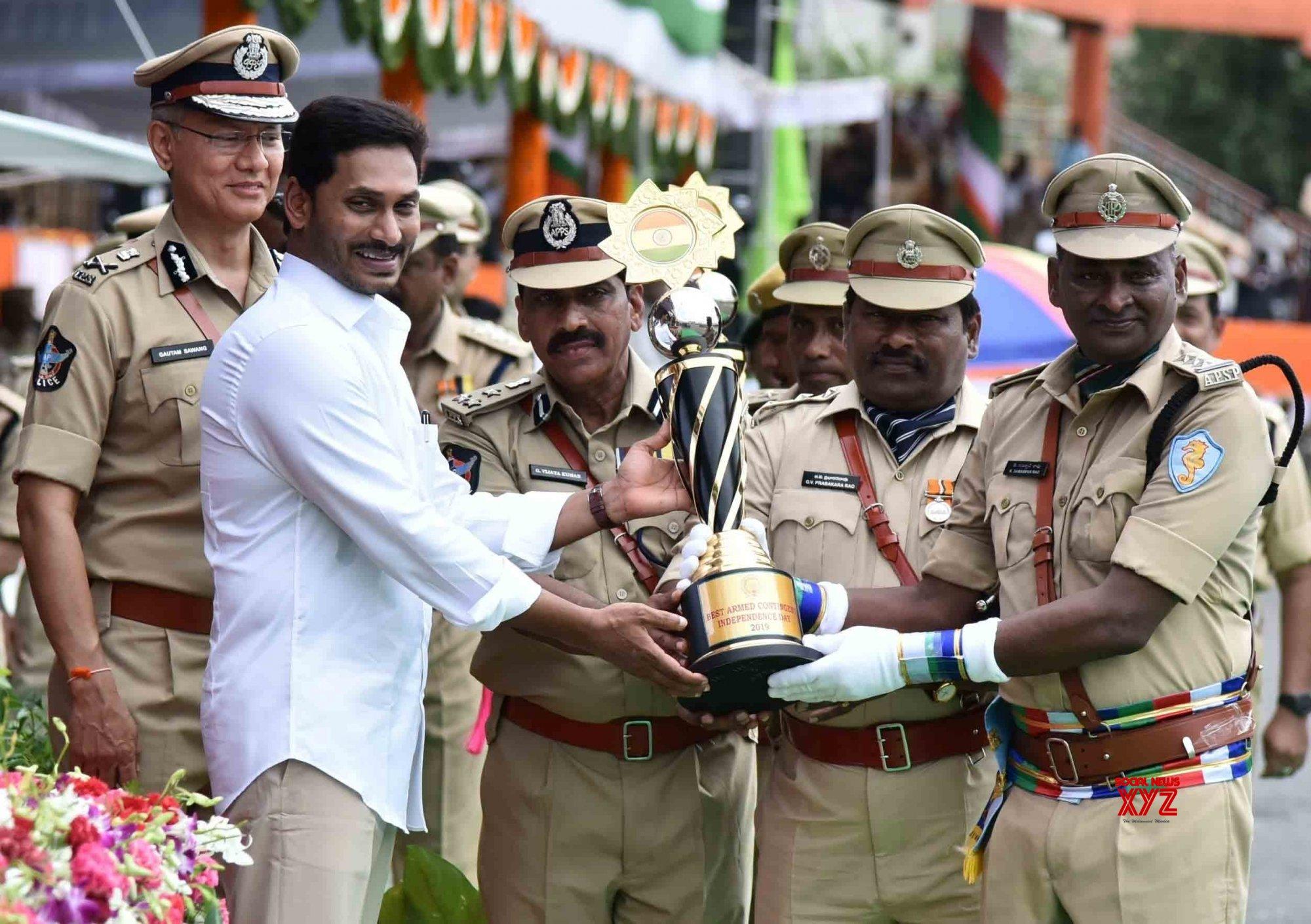Vijayawada: Y. S. Jaganmohan Reddy during 73rd Independence Day celebrations in Andhra Pradesh #Gallery