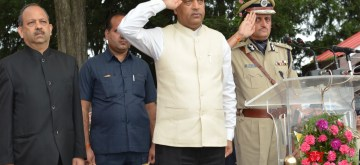 Shimla: Himachal Pradesh Chief Minister Jai Ram Thakur salutes the Tricolor after unfurling it during 73rd Independence Day celebrations at Ridge in Shimla, on Aug 15, 2019. (Photo: IANS)