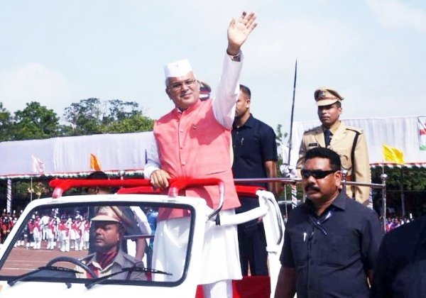 Raipur: Chhattisgarh CM during 73rd Independence Day celebrations #Gallery