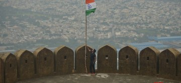 Ajmer: The national flag hoisted at Taragarh Fort in Ajmer on Aug 15, 2019. (Photo: IANS)