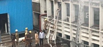 New Delhi: Fire fighters douse a fire that broke out on two floors of a building in the AIIMS hospital in New Delhi on Aug 17, 2019. (Photo: IANS)