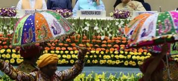"New Delhi: Prime Minister Narendra Modi with Gujarat Governor Acharya Dev Vrat and Chief Minister Vijay Rupani  at the inauguration of ""Garvi Gujarat"" building, in New Delhi on Sep 2, 2019. (Photo: Amlan Paliwal/IANS)"