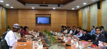 Greater Noida: Union Environment, Forest and Climate Change and Information and Broadcasting Minister Prakash Javadekar holds bilateral talks with United Nations Deputy Secretary-General Amina J. Mohammed in Greater Noida, Uttar Pradesh on Sep 9, 2019. (Photo: IANS/PIB)