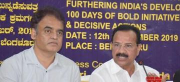 Bengaluru: Union Minister for Chemicals and Fertilisers DV Sadananda Gowda and Karnataka Deputy Chief Minister CN Ashwath Narayan during a press conference at Press Club, in Bengaluru on Sep 12, 2019. (Photo: IANS)