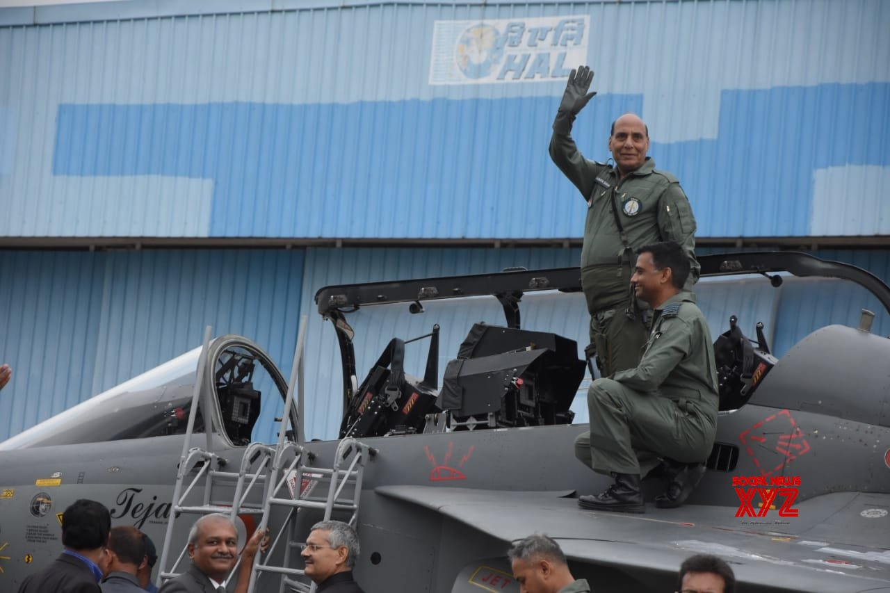 Bengaluru: Rajnath Singh ready for a sortie on LCA Tejas (Batch - 2) #Gallery