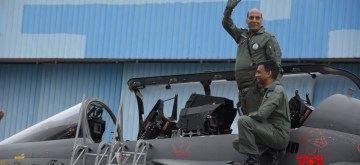 Bengaluru: Defence Minister Rajnath Singh ready for a sortie on the LCA 'Tejas' in Bengaluru on Sep 19, 2019. (Photo: IANS)