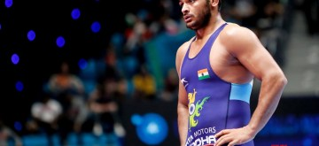 Nur-Sultan: Junior World Champion Deepak Punia after defeating Colombian grappler Carlos Mendez 7-6 in the quarter-finals in 86-kg freestyle category during the ongoing World Wrestling Championships in Nur-Sultan, Kazakhstan on Sep 21, 2019. Punia on Saturday became the fourth Indian wrestler to secure a quota for the 2020 Tokyo Olympic Games by entering the semi-finals of the ongoing World Wrestling Championships. (Photo: IANS)