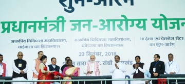 Ranchi: Prime Minister Narendra Modi launches 'Ayushman Bharat -Pradhan Mantri Jan Aarogya Yojana (AB-PMJAY)' along with Jharkhand Governor Droupadi Murmu, Chief Minister Raghubar Das and Union Health and Family Welfare J.P. Nadda on Sept 23, 2018. (Photo: IANS/PIB)