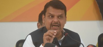 Mumbai: Maharashtra Chief Minister Devendra Fadnavis addresses a press conference at state BJP headquarters in Mumbai on Sep 23, 2019. (Photo: IANS)
