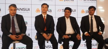 New Delhi: (L to R) Sansui India Business Head Consumer Durable Amitabh Tiwari, Head- Global Licensing Lim Jew Tim, Jaina Group Managing Director Pradeep Jain and Executive Director, Jaina Group and Sansui India Brand Head Dr. Abhishek Garg during the launch of new range of technologically powered consumer durable and electronic products in New Delhi on Sep 26, 2019. (Photo: IANS)