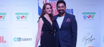 Actor and VJ Rannvijay Singha with wife Priyanka Vora at the red carpet of NBA India Games  2019 in Mumbai on Oct 3, 2019. (Photo: IANS)