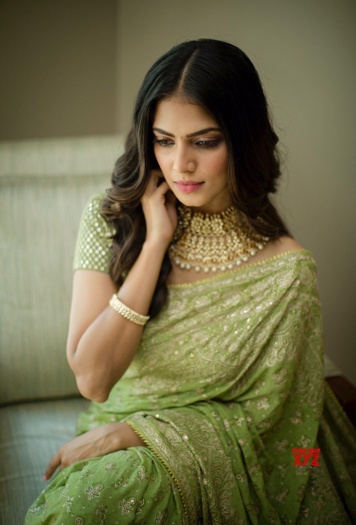 Actress Malavika Mohanan Stunning HD Stills From Thalapathy 64 Movie Pooja