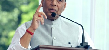 New Delhi: Union Defence Minister Rajnath Singh addresses after unveiling statue of Mahatma Gandhi, on the occasion of the 150th Birth Anniversary of Mahatma Gandhi, in New Delhi on Oct 2, 2019. (Photo: IANS/PIB)