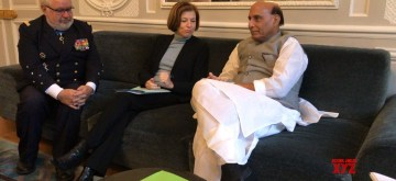 Paris: Defence Minister Rajnath Singh meets French Armed Forces Minister Florence Parly and the Defence Advisor to the French President, Admiral Bernard Rogel at Elysée Palace in Paris on Oct 8, 2019. (Photo: IANS/RMO)