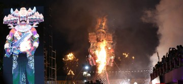 New Delhi: An effiggy of Ravana being burned at Red Fort Ground in New Delhi on Oct 8, 2019. (Photo: IANS)
