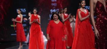 New Delhi: Fashion designer Dolly J on the third day of Lotus Make-up India Fashion Week, in New Delhi on Oct 11, 2019. (Photo: Amlan Paliwal/IANS)