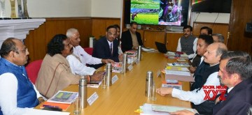 Shimla: A delegation of NCST led by its Chairperson Nand Kumar Sai holds a review meeting with Himachal Pradesh Chief Secretary Shrikant Baldi and other officials of the state government, in Shimla on Oct 11, 2019. (Photo: IANS)
