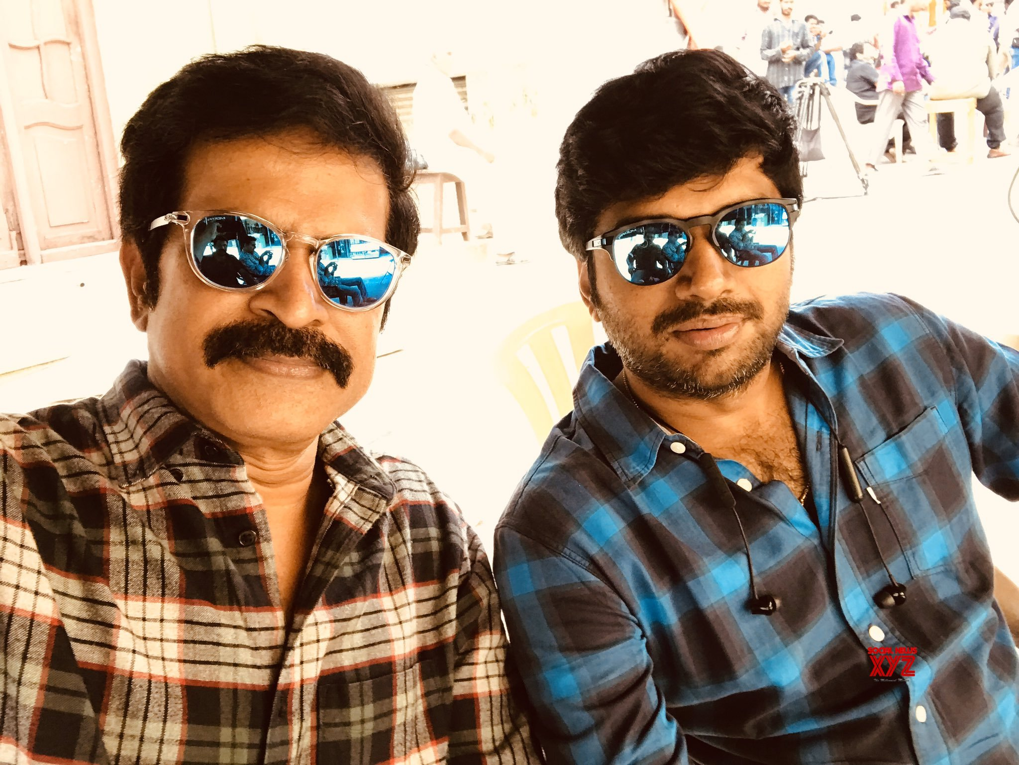 Brahmaji And Anil Ravipudi Still From The Sets Of Sarileru Neekevvaru