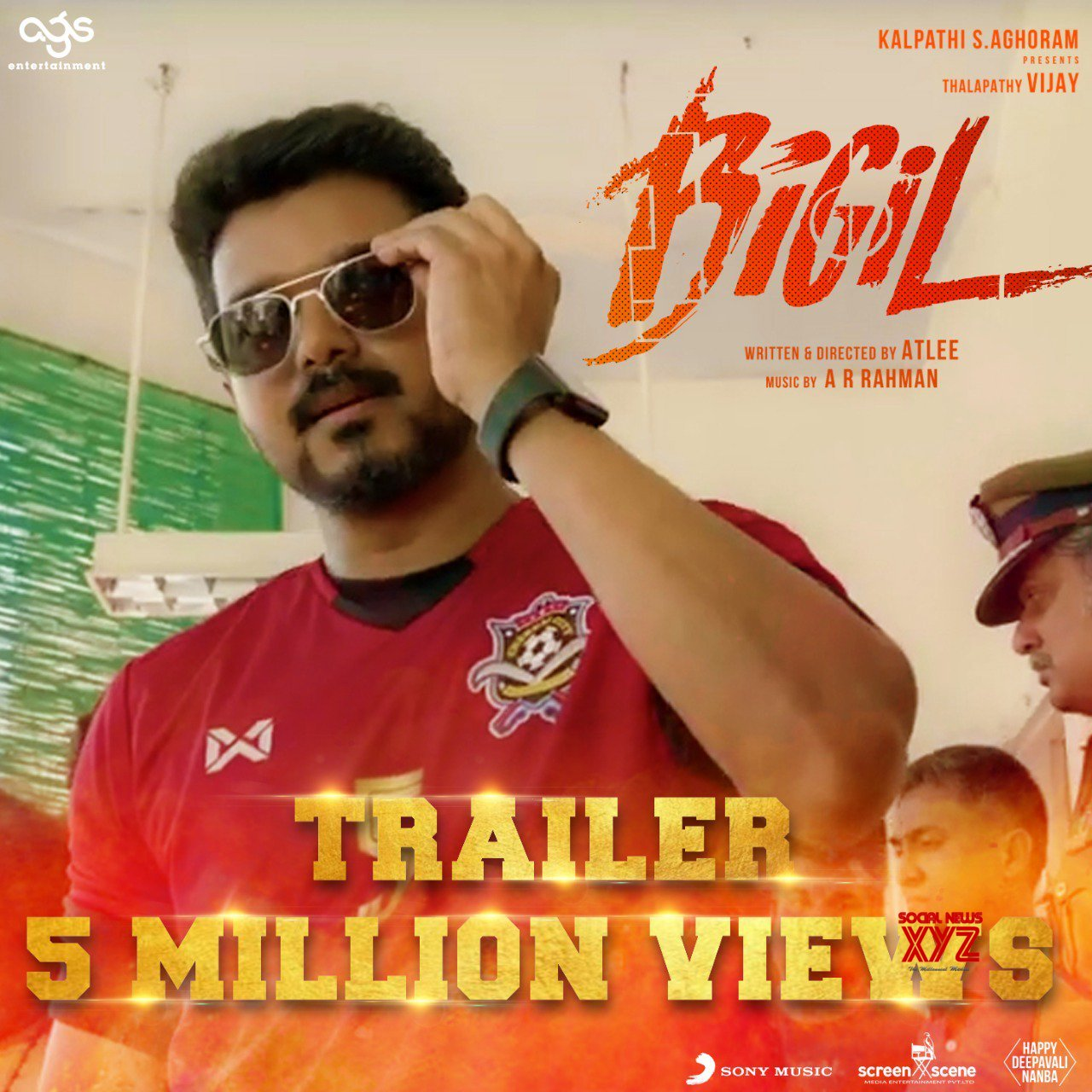 Thalapathy Vijay's Bigil Trailer Storms Past 5 Million Real Time Views Already In Less Than 38 Minutes