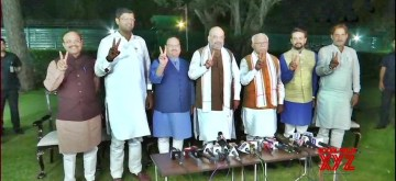 New Delhi: Union Home Minister Amit Shah talks to press regarding the formation of coalition government in Haryana; at his residence in New Delhi on Oct 25, 2019. Also seen BJP working President J P Nadda, Jannayak Janta Party (JJP) chief Dushyant Chautala, Haryana BJP chief Subhash Barala, MoS for Finance Anurag Thakur and Haryana Chief Minister Manohar Lal Khattar. (Photo: @DDNewsLive)
