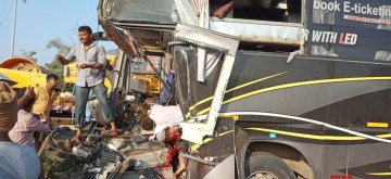 Tumakuru: The mangled remains of a bus after it collided with a truck near Tumakuru, Karnataka on Nov 3, 2019. Reportedly, 3 people were killed in the accident. (Photo: IANS)