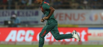 Rajkot: Bangladesh's Mustafizur Rahman in action during the 2nd T20I match between India and Bangladesh at Saurashtra Cricket Association Stadium in Rajkot on Nov 7, 2019. (Photo: Surjeet Yadav/IANS)