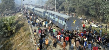 Vaishali: The derailed coaches of Delhi-bound Seemanchal Express seen at the accident site in Bihar's Vaishali district on Feb 3, 2019. At least seven people were killed and 11 others injured when 11 coaches of the train derailed. (Photo: IANS)