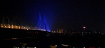 Mumbai: Bandra Worli Sea Link lit up in blue lights on the occasion of World Children's Day and the 30th anniversary of UNCRC (United Nations Convention on the Rights of the Child) urging people to play their role to end violence against children, in Mumbai on Nov 20, 2019. (Photo: IANS)