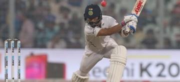 kolkata: Indian skipper Virat Kohli in action on Day 1 of the 2nd Test match between India and Bangladesh at the Eden Gardens in Kolkata on Nov 22, 2019. This is India and Bangladesh's first pink ball Day-Night Test match. (Photo: Surjeet Yadav/IANS)
