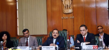 New Delhi: Union MoS Development of North Eastern Region, Prime Minister's Office, Personnel, Public Grievances & Pensions, Atomic Energy and Space Jitendra Singh holds talks with the delegation from the Gambia Public Service Commission, in New Delhi on Dec 2, 2019. Also seen Public Services Commission of Gambia Vice Chairman Awa Auber and Additional Secretary, Department of Administrative Reforms & Public Grievances (DARPG) V. Srinivas. (Photo: IANS/PIB)