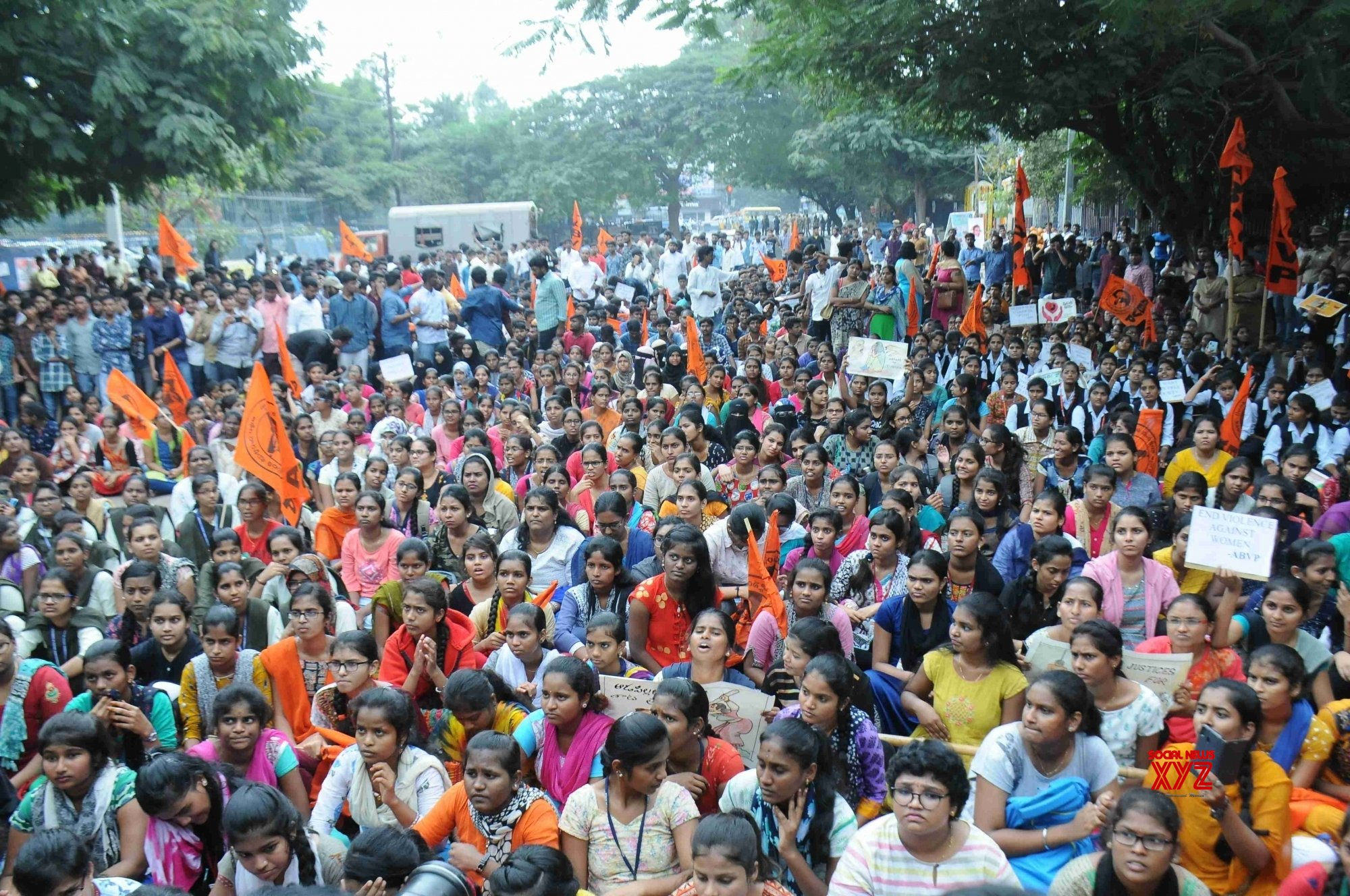 Hyderabad: ABVP activists protest #Gallery