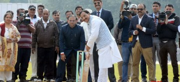 New Delhi: Union Minister for Human Resource Development, Dr. Ramesh Pokhriyal 'Nishank' in action during the inauguration of the Cricket Stadium, at Kendriya Vidyalaya No. 1, Delhi Cantt., in New Delhi on Dec 4, 2019. (Photo: IANS/PIB)