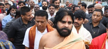 Chittoor: Jana Sena chief Pawan Kalyan visits Tirumala Tirupati Temple in Chittoor district of Andhra Pradesh on Dec 4, 2019. (Photo: IANS)