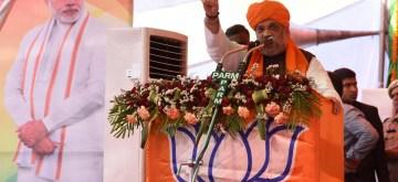 Pathankot: BJP chief Amit Shah addresses a public rally ahead of the 2019 Lok Sabha polls, in Punjab's Pathankot, on May 5, 2019. (Photo: IANS)