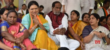 Hyderabad: BJP leader D. K. Aruna with the Telangana party President K. Laxman, during her hunger strike demanding ban on liquor in the state, in Hyderabad on Dec 12, 2019. (Photo: IANS)