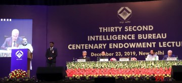 New Delhi: Union Home Minister Amit Shah delivering the 32nd Intelligence Bureau (IB) Centenary Endowment Lecture, in New Delhi on Dec 23, 2019. Also seen Union MoS Home Affairs G. Kishan Reddy and other dignitaries. (Photo: IANS/PIB)