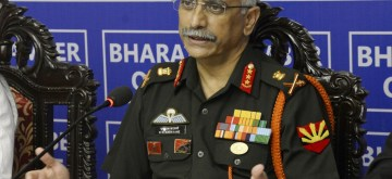 "Kolkata: GOC-in-C, Eastern Command Lt Gen MM Naravane addresses during a special session on ""Defending our Border at Bharat Chamber of Commerce"" in Kolkata on Aug 27, 2018. (Photo: IANS)"
