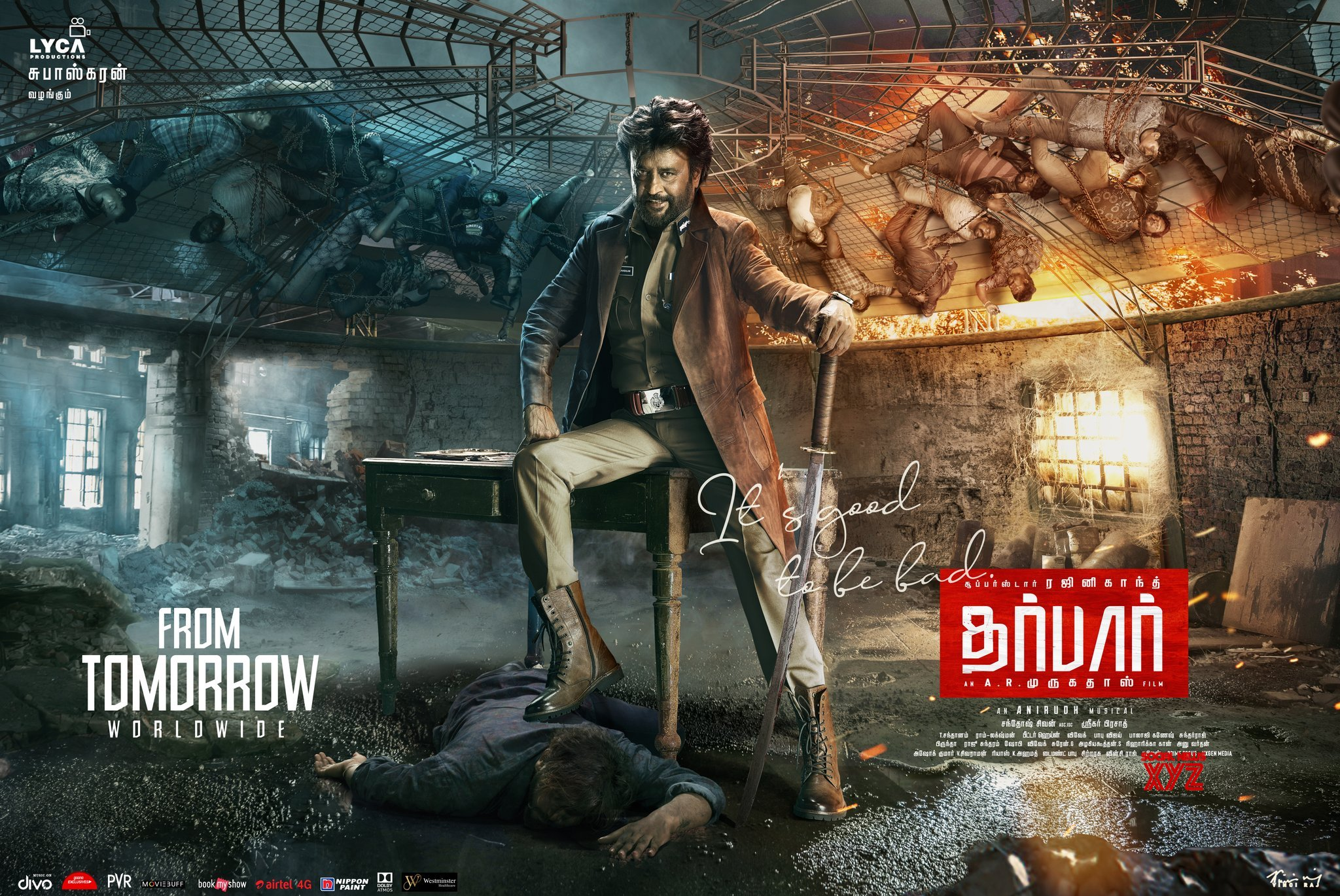 Superstar Rajinikanth Darbar Movie Sometimes It's Good To Be Bad Posters