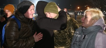 KIEV, Dec. 30, 2019 (Xinhua) -- A released Ukrainian is greeted at the Boryspil International Airport in Kiev, capital of Ukraine, Dec. 29, 2019. The Ukrainian government completed a prisoner swap with rebels in the country's eastern regions and received 76 detainees on Sunday, the presidential office said. (Photo by Sergey Starostenko/Xinhua/IANS)