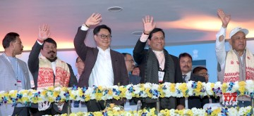 Guwahati: Union MoS Youth Affairs and Sports (Independent Charge) Kiren Rijiju, Assam Chief Minister Sarbananda Sonowal and Cabinet Minister Atul Bora at the inaugural ceremony of the third edition of Khelo India Youth Games, in Guwahati on Jan 10, 2020. (Photo: IANS/PIB)