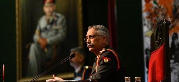 New Delhi: Army chief General Manoj Mukund Naravane addresses during the annual press conference at the Manekshaw Centre in New Delhi on Jan 11, 2020. (Photo: IANS)