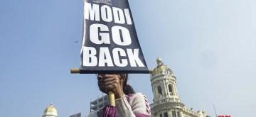 Kolkata: Protesters stage a demonstration against Prime Minister Narendra Modi's two-day visit, in Kolkata on Jan 12, 2020. (Photo: IANS)