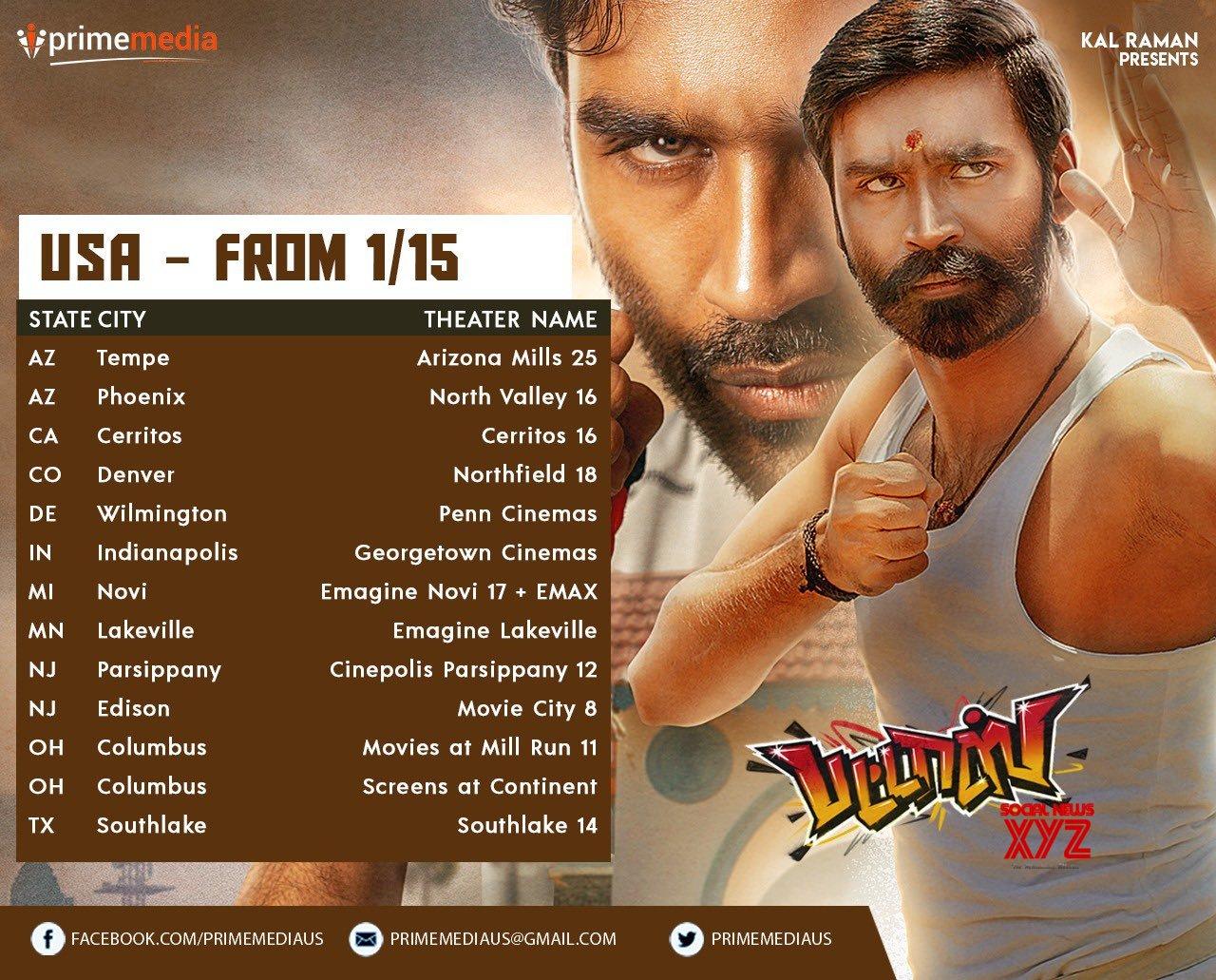 Dhanush's Pattas Movie USA Theater List Posters