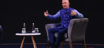 New Delhi: Amazon CEO Jeff Bezos interacts with entrepreneurs at the Amazon Smbhav event in New Delhi on Jan 15, 2020. (Photo: IANS)