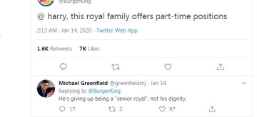 "Caption: Burger King offers job to Royal couple, Netizens calls ""savage""."