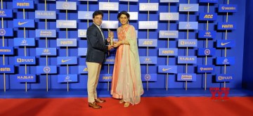 Mumbai: A former skipper of the Indian Women's cricket team Anjum Chopra, a cricket analyst and the first woman 'sportscaster' on television in India received the prestigious award of C.K. Nayudu Lifetime Award conferred by the BCCI, in Mumbai. (Photo: IANS)